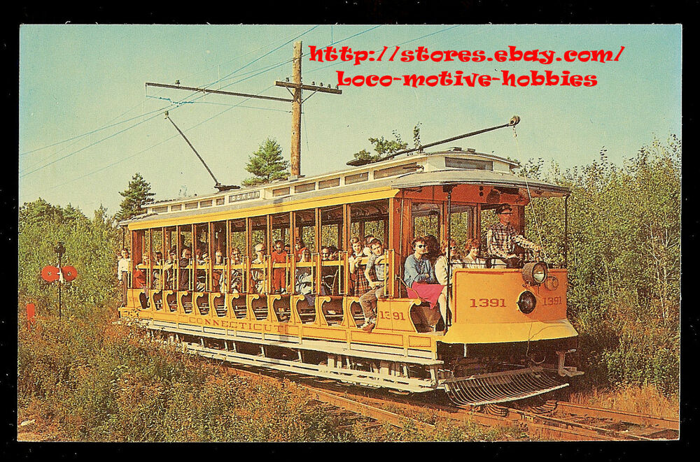 postcard streetcar connecticut interurban trolley 1391 new haven 1910 open car ebay. Black Bedroom Furniture Sets. Home Design Ideas