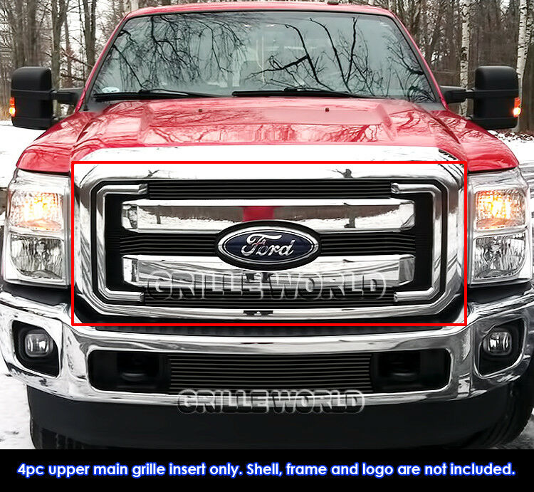 fits 2011 2016 ford f250 f350 sd xlt lariat king ranch black billet grille ebay. Black Bedroom Furniture Sets. Home Design Ideas