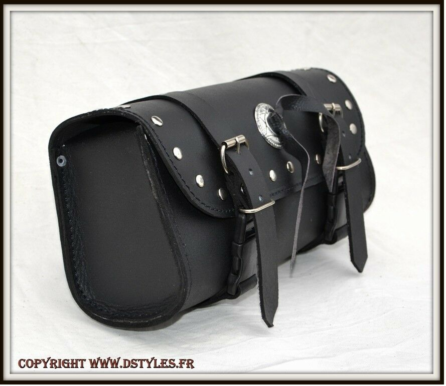 sacoche cuir pour moto neuf leather tool bag custom motorcycle harley shadow ebay. Black Bedroom Furniture Sets. Home Design Ideas