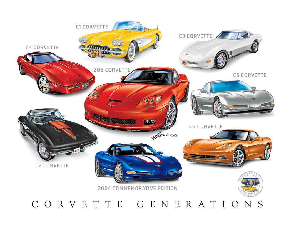 Corvette Generations 12x18 Poster Ready To Frame C1 To