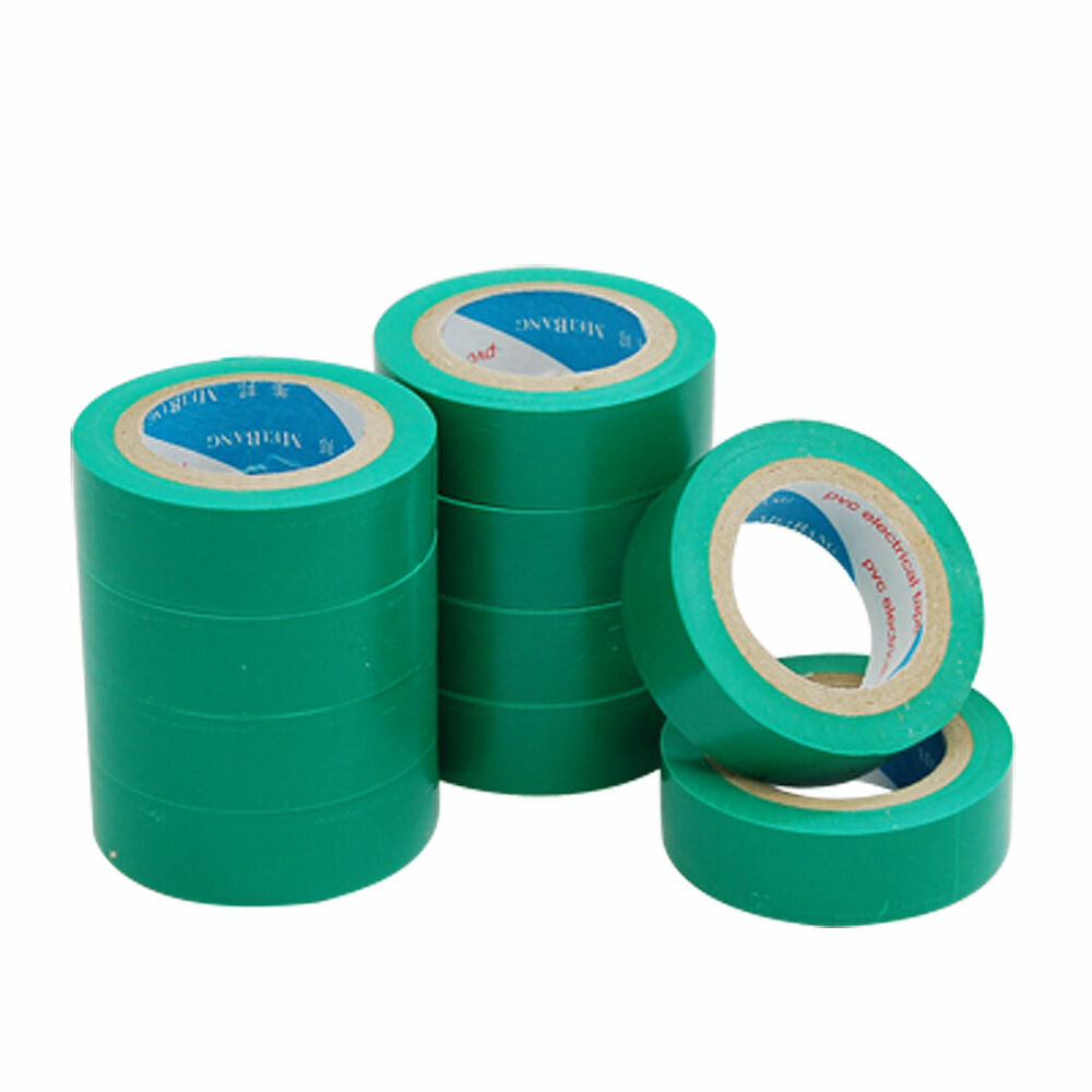 green adhesive electrical installation pvc plastic tape nkgax ebay. Black Bedroom Furniture Sets. Home Design Ideas