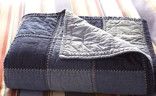 Pottery Barn Kids Denim Patchwork Full Queen Quilt Set Ebay