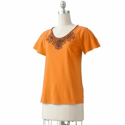 croft barrow embellished t shirt cute womens tee pink or orange u pic size nwt ebay. Black Bedroom Furniture Sets. Home Design Ideas
