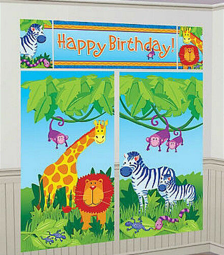 Jungle party wall decorations : Jungle animals setter happy birthday party wall