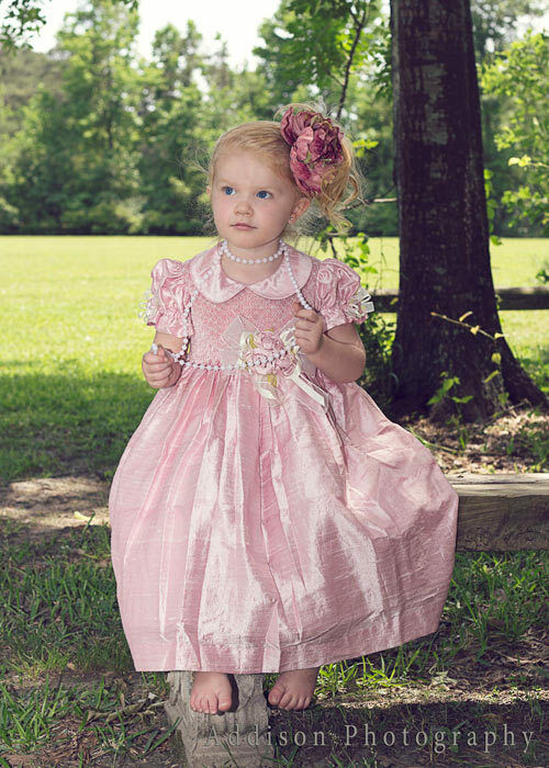 Fine Children Light Pink Silk Hand Smocked Flower Girls