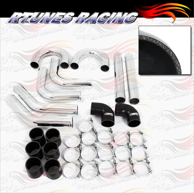 "Electric Supercharger Kit Turbo Chip Performance For Chevy: BLACK 2.5"" Inches 63mm Turbo/Supercharger Intercooler"