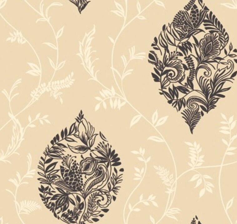 Wallpaper modern cream leaf vine trellis and black floral for Black and cream wallpaper