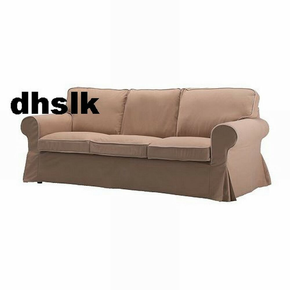 ikea ektorp 3 seat sofa slipcover cover idemo beige tan w contrasting piping ebay. Black Bedroom Furniture Sets. Home Design Ideas