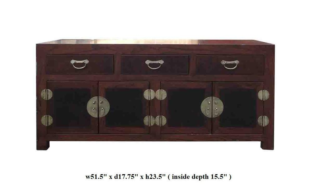 Chinese elm burlwood low tv stand console cabinet vs491 ebay for Asian console cabinet
