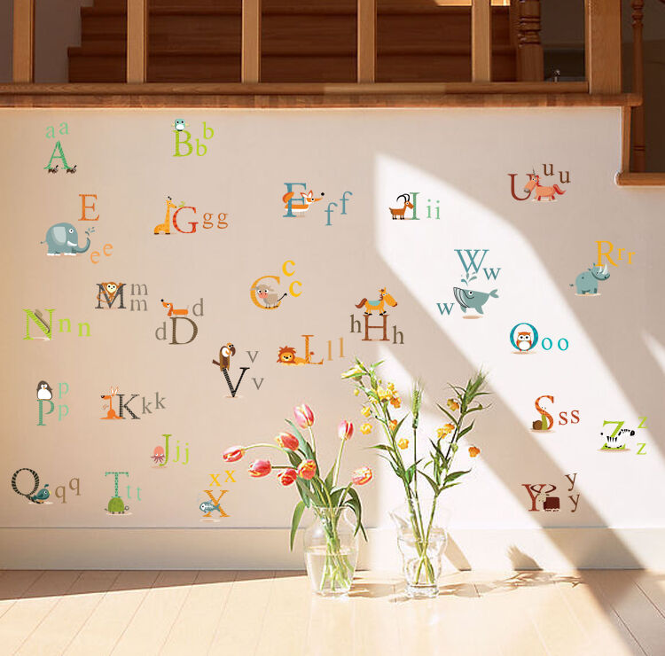 26 animals alphabet removable educational wall stickers for Alphabet mural nursery