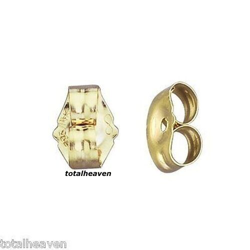 solid 14k yellow gold earring backs push back friction