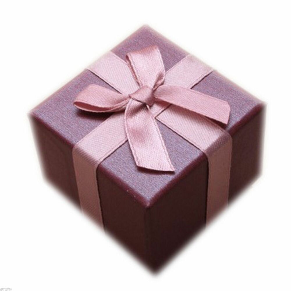 Pack of 2 Plum Purple Wedding Favour Boxes Decorated with Ribbon ...