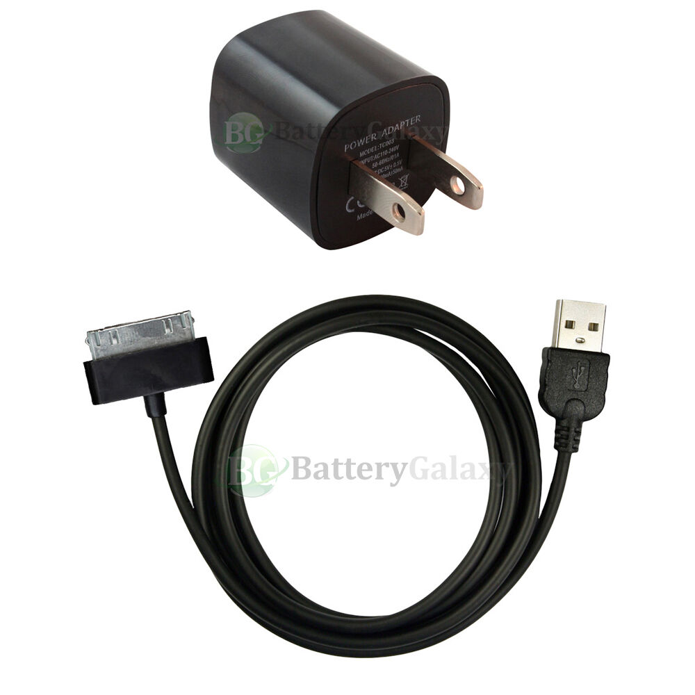 Usb Black Home Wall Ac Charger Cable Data Sync For Apple