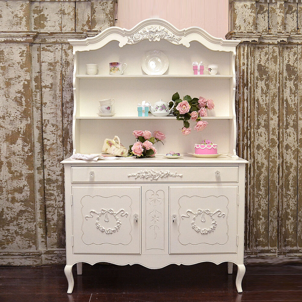 shabby cottage chic french vintage style china cabinet hutch roses ebay. Black Bedroom Furniture Sets. Home Design Ideas