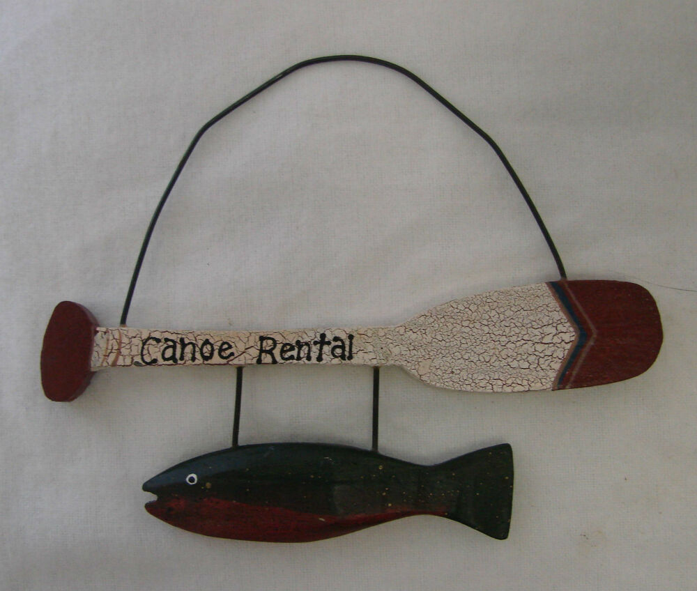 Wood Paddle Wall Decor : Canoe rental paddle oar country home fish fishing maroon