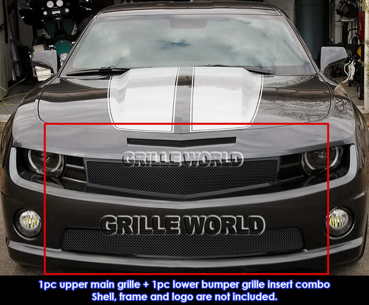 Fits 2010 2013 Chevy Camaro Ss V8 Black Stainless Steel Mesh Grille Grill Combo Ebay