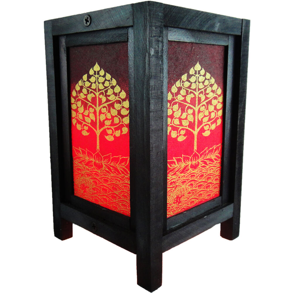 Asian oriental lotus peaceful zen art bedside desk table for Japanese bedside table