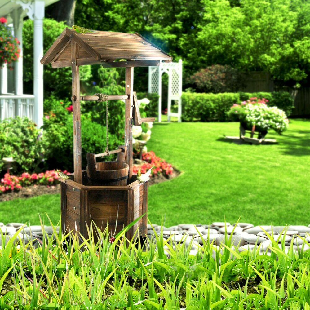 Outdoor Garden Wooden Wishing Well Timber Rustic Backyard