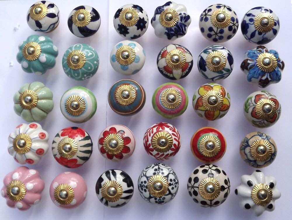 Ceramic door knobs handles drawer cupboard wardrobe for Small door knobs and handles