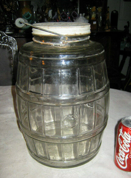 Antique Primitive Lg Pickle Barrel Folk Art Jar Blue Wood