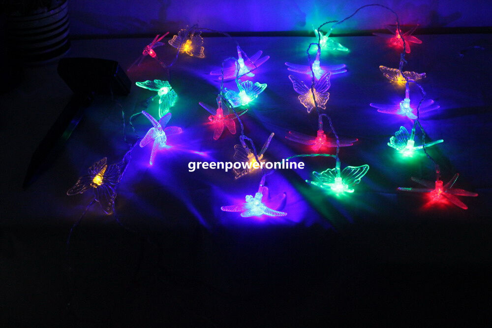 Solar Patio Lights String: Solar 20LED Butterfly & Dragonfly String Fairy Light Party