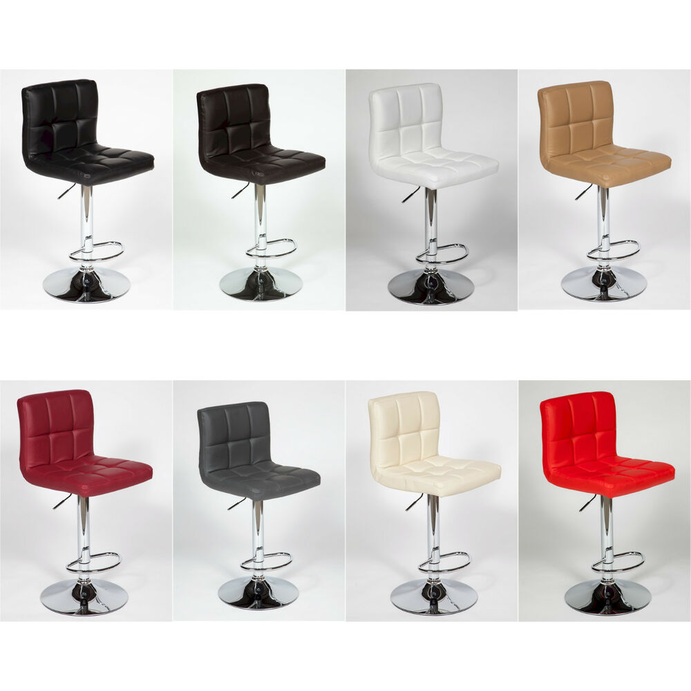 "Contemporary Furniture And Stools: 2 Modern Adjustable ""Leather"" Swivel Pub Style Bar Stools"