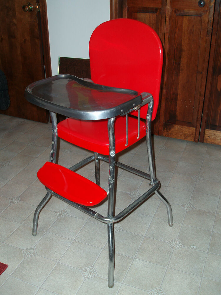 Vintage Cosco Metal Chrome High Chair Stool Red W Vinyl