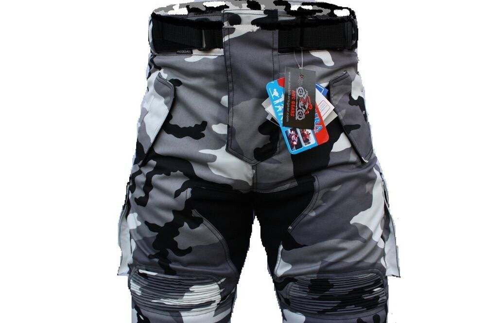 men motorcycle trousers armour protection wind waterproof ce approved camo pants ebay. Black Bedroom Furniture Sets. Home Design Ideas