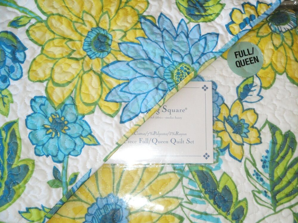 Yellow Blue Green Floral Full Queen Quilt 3pc Set Bright