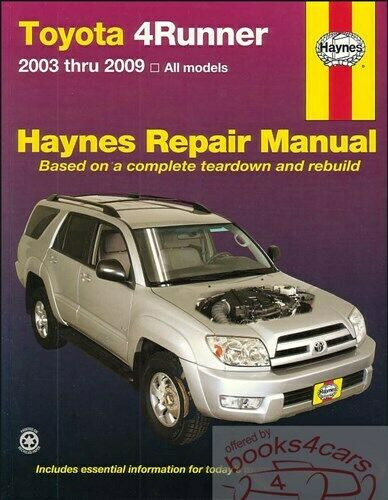 4runner Shop Manual Toyota Service Repair Book Haynes