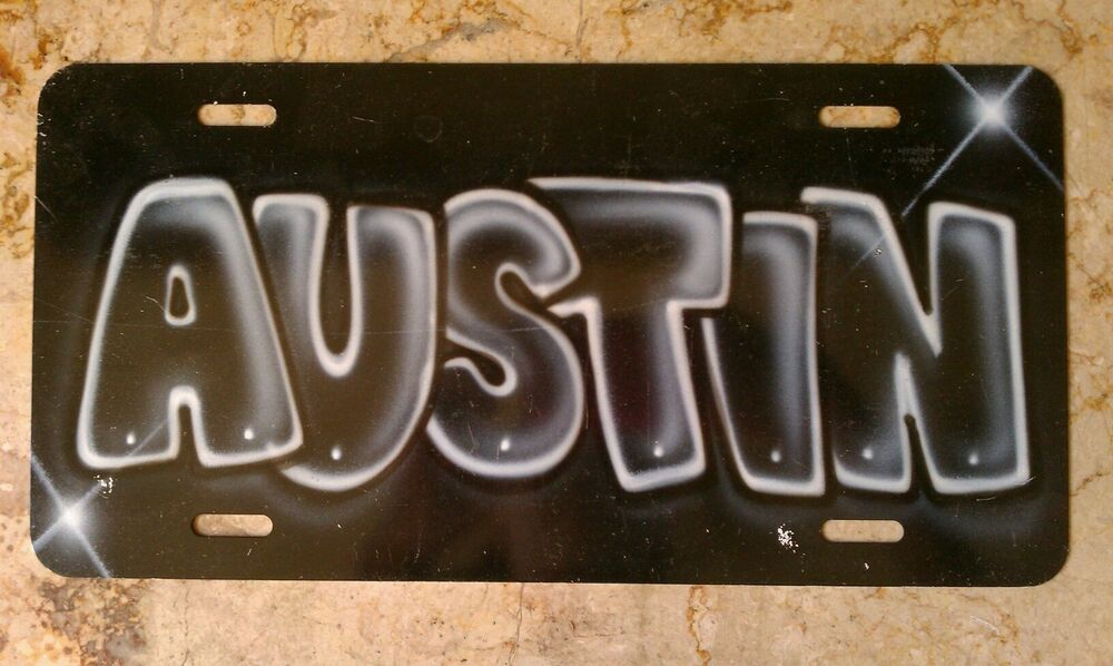 Airbrush custom license plate car tag personalized name for Custom license plate letters
