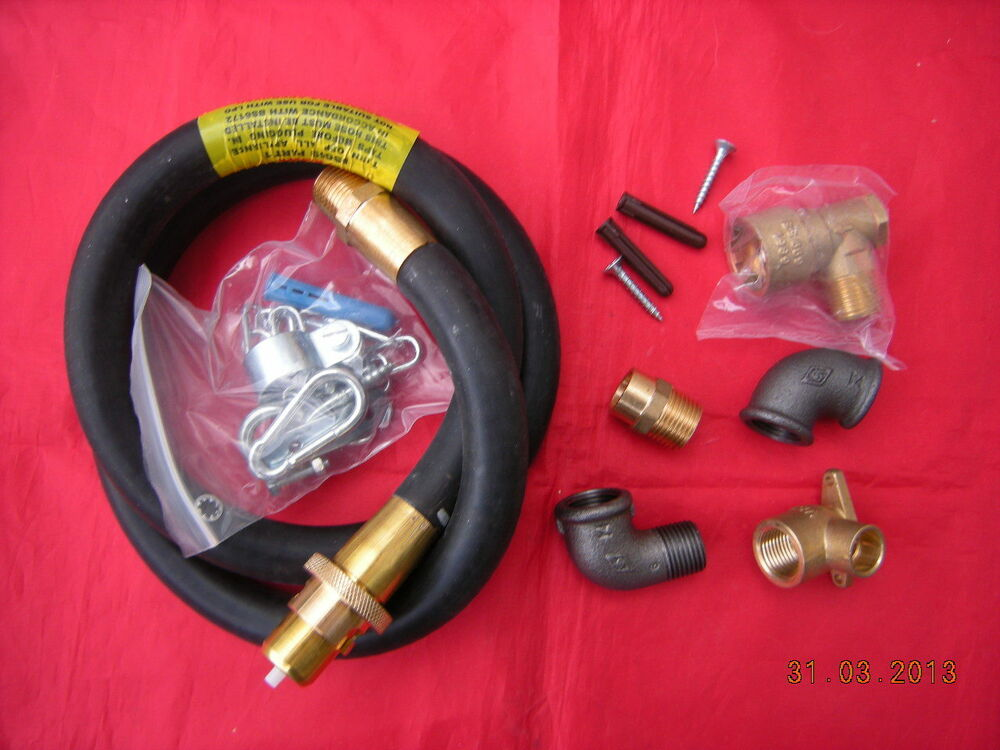 "Gas Cooker Fitting >> Universal Natural Gas Cooker Installation Kit 1 4'X1/2"" Bayonet Cooker Hose 