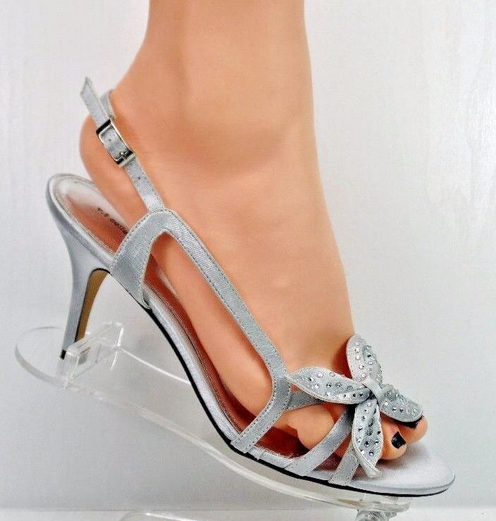 Silver Grey Lace Wedding Shoes Sandals Size