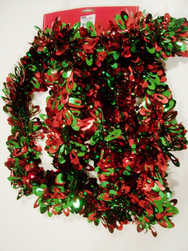 9 FT RED GREEN LOOPS 3 1/2 INCH TINSEL CHRISTMAS