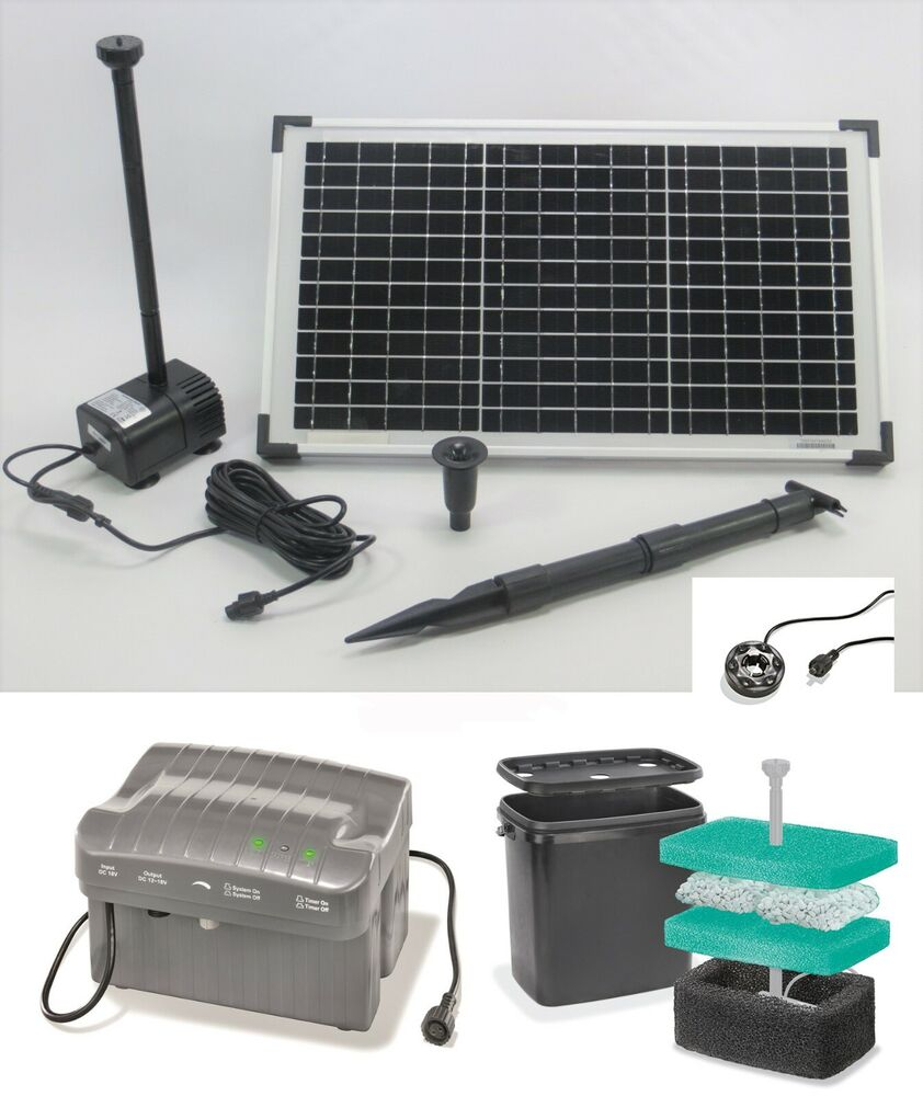 20w led solar pumpenset solarpumpe akku teichpumpe gartenteichpumpe pumpe filter ebay. Black Bedroom Furniture Sets. Home Design Ideas