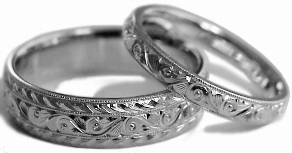 Hand Engraved Two Wedding Band Ring Set 14k White Gold 6 Amp 3