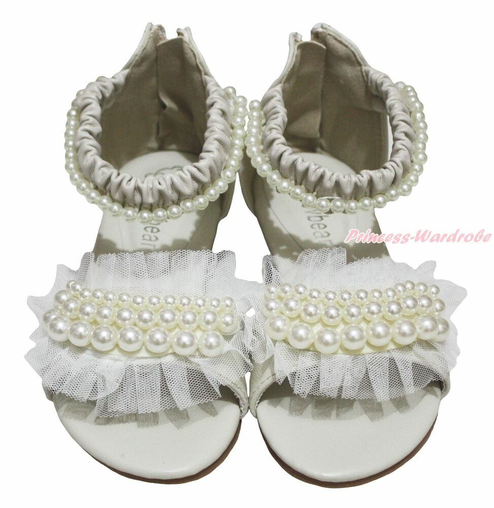 Beige Pearls Ruffles Party Casual Wedding Prom Sandals