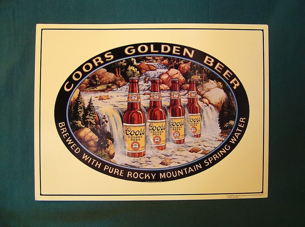 Coors Golden Beer Metal Embossed Tin Sign Advertising
