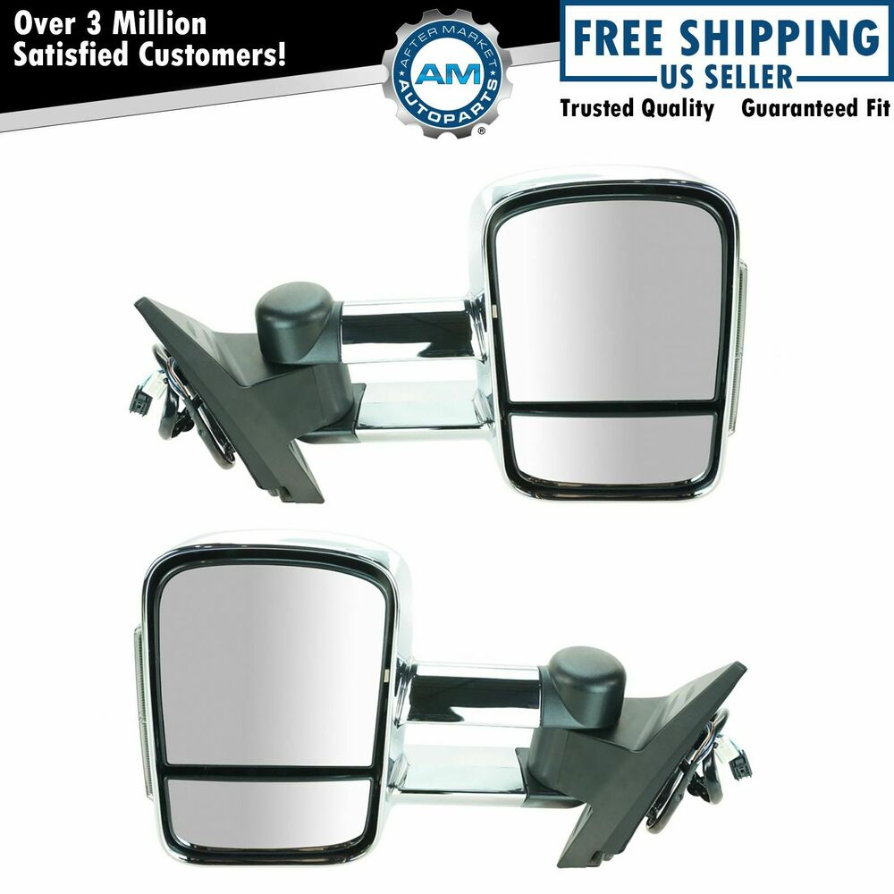 Vehicle Towing Mirrors : Chrome towing tow power heated signal side view mirror