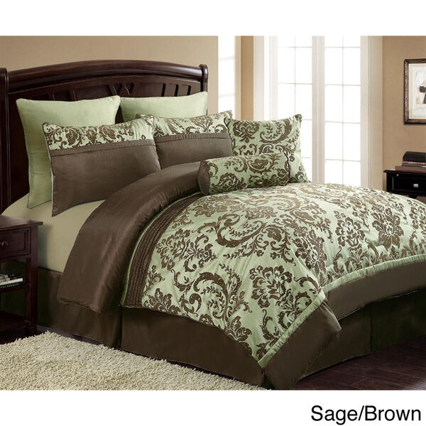 New 8pc Sage And Brown Oversized Damask Comforter Set
