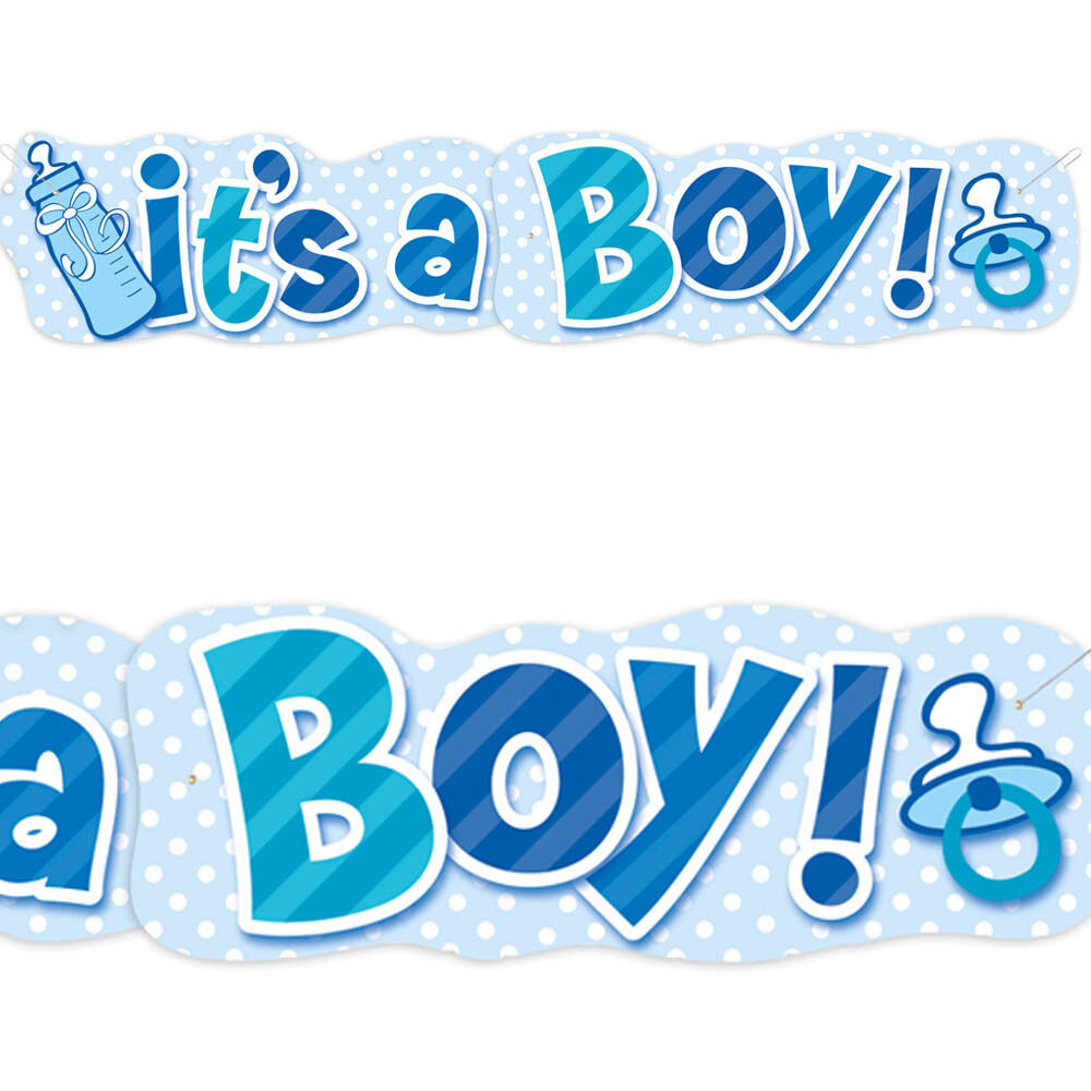 5ft giant blue it 39 s a boy new baby shower bottle jointed banner