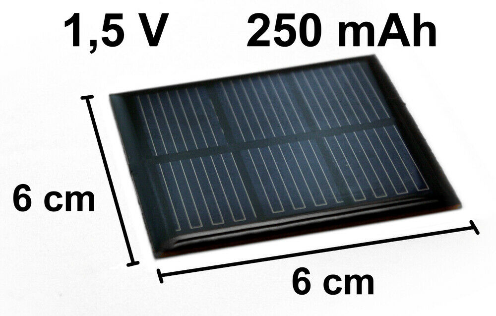 solarzelle 1 5v 250mah solar solarmodul 6cm x 6cm mini kleine hobby zelle ebay. Black Bedroom Furniture Sets. Home Design Ideas