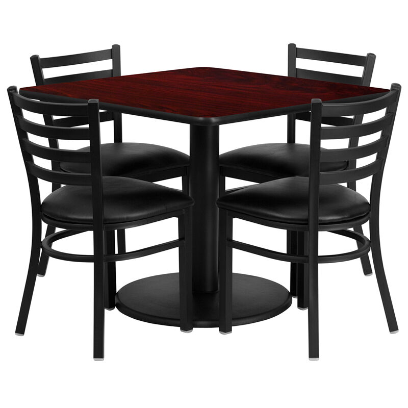 Restaurant table chairs 36 square mahogany laminate with for Table cuisine 1 pied