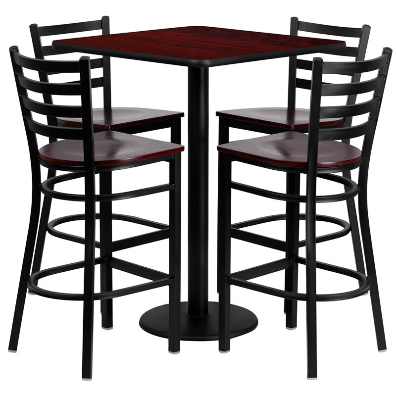 Restaurant table chairs 30 39 39 mahogany laminate with 4 for Restaurant table menu