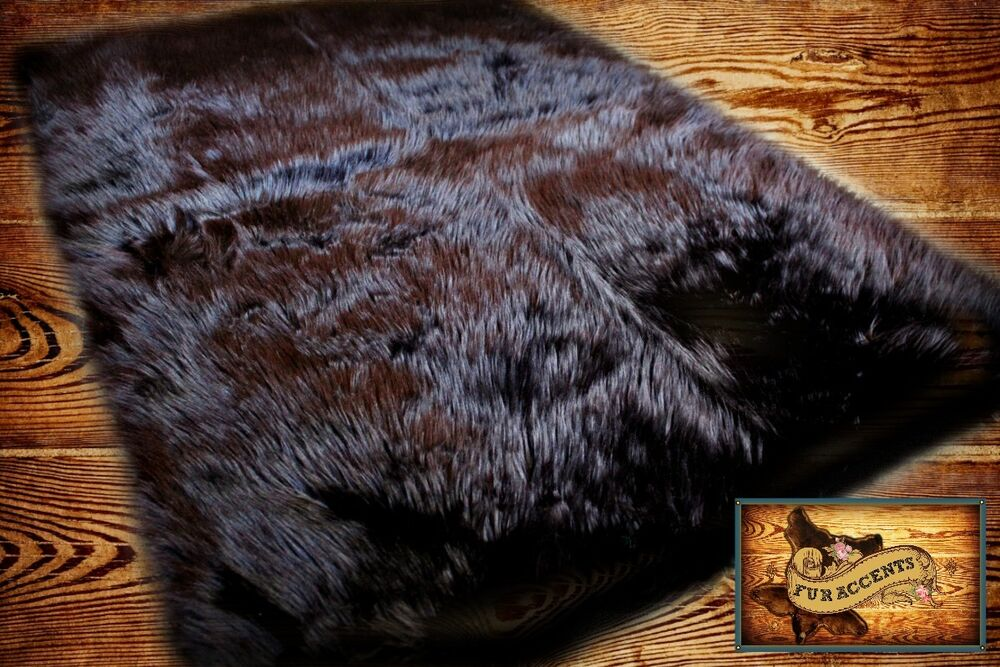 faux fur sheepskin bear skin area rug black shag rectangle shabby plush 5 39 x 7 39 ebay. Black Bedroom Furniture Sets. Home Design Ideas