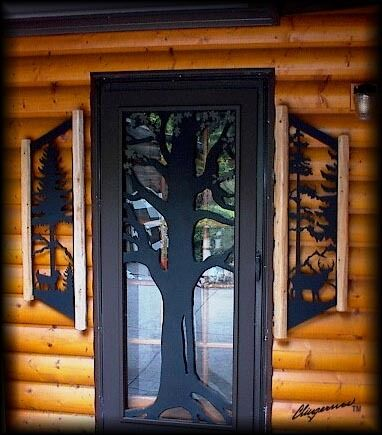 Clingermans deer pinetree window shutters rustic log cabin for Windows for log cabins