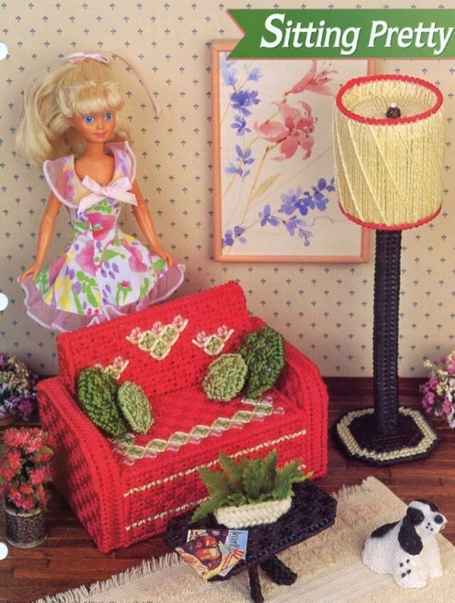 Sitting Pretty For Barbie Doll Plastic Canvas Pattern 30