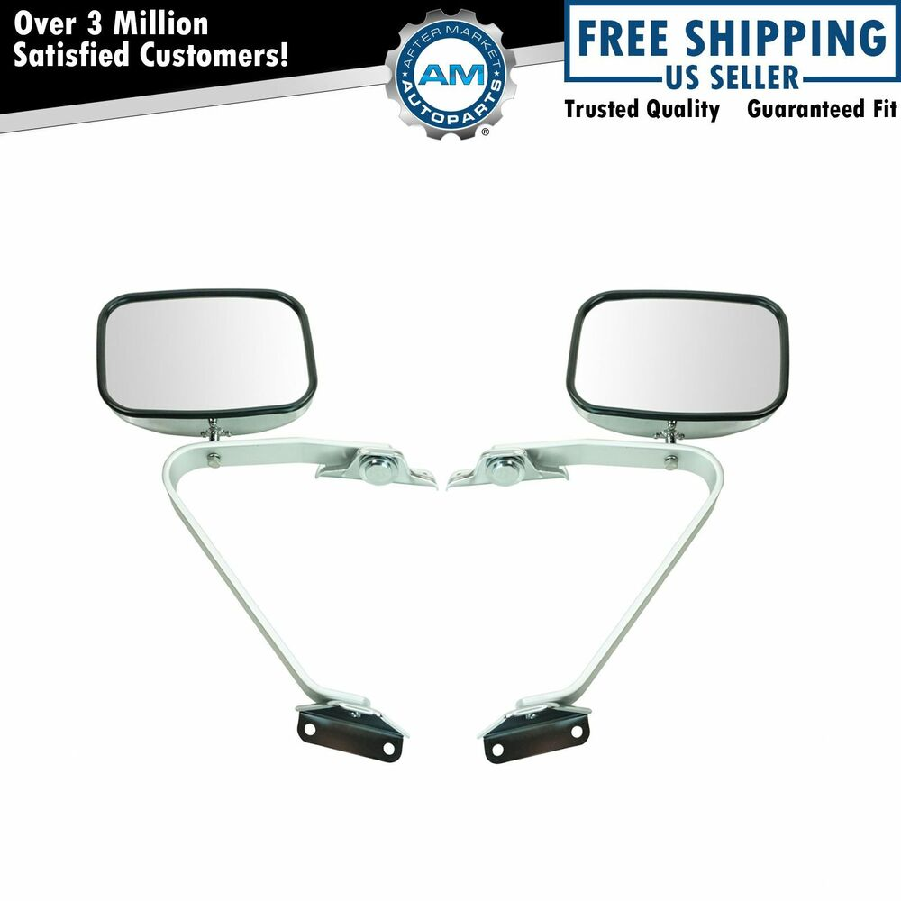 Side view manual mirrors chrome pair set for ford f series for Where to find mirrors