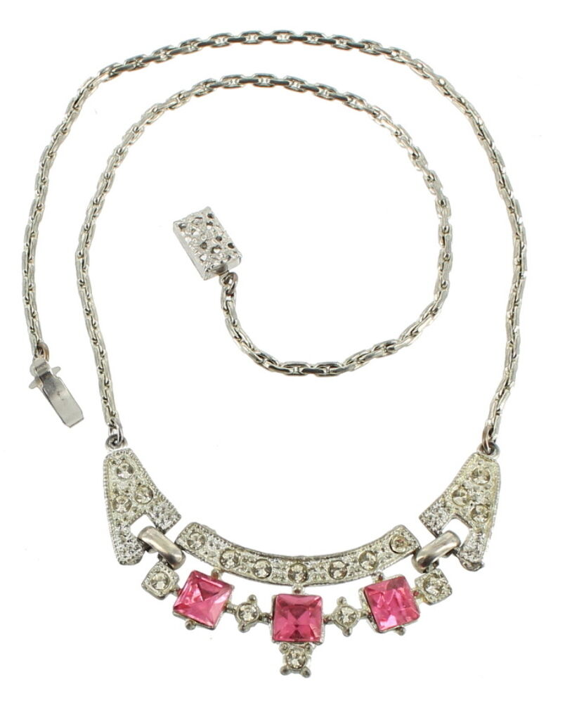 Antique Deco Paste Rhinestone Clear Amp Pink Princess Cut