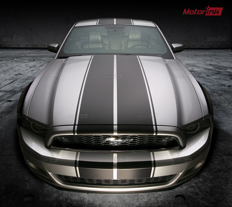 Mustang Decals And Stripes >> 2013 2014 Ford Mustang Rally Double Over the Top Racing Stripes Graphics Decals | eBay